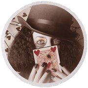 Retro Magician Holding Burnt Playing Card Round Beach Towel