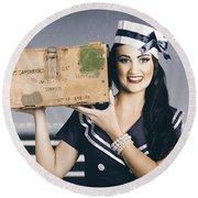 Retro Maritime Portrait. Woman In Sailor Fashion Round Beach Towel