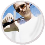 Retro Tennis 1970 Round Beach Towel