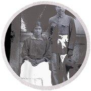 Revolutionary Couple In Studio Unknown Location 1915-1920-2014 Round Beach Towel