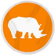 Rhino In Orange And White Round Beach Towel