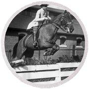 Rider Jumps At Horse Show Round Beach Towel