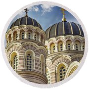 Riga Orthodox Cathedral Round Beach Towel