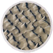 Ripple Pattern On Mudflat At Low Tide Round Beach Towel