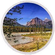 River And Mountains In Jasper Round Beach Towel