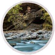 River Flowing Through Rocks, Zion Round Beach Towel