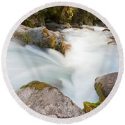River Rapids Washing Over Rocks With Silky Look Round Beach Towel