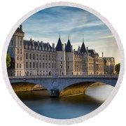 River Seine And Conciergerie Round Beach Towel