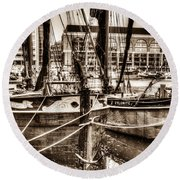River Thames Sailing Barges Round Beach Towel
