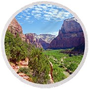 River Through Zion Round Beach Towel