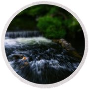 River Wye Waterfall - In Bakewell Peak District - England Round Beach Towel