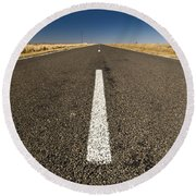 Road Ahead Round Beach Towel by Tim Hester