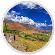 Road And Mountains Of Leh Ladakh Jammu And Kashmir India Round Beach Towel