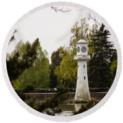 Roath Park Lighthouse Round Beach Towel
