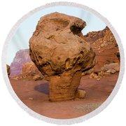 Rock Formations In A Desert, Vermilion Round Beach Towel