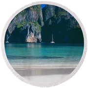 Rock Formations In The Sea, Phi Phi Round Beach Towel