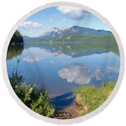Rock Lake Alberta Canada And Willmore Wilderness Round Beach Towel