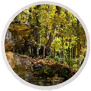Rock Shelf And Forest Round Beach Towel