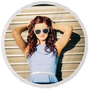 Rockabilly Greaser Pin-up. 50s Drive-in Culture Round Beach Towel