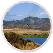 Rocky Mountain Balloon Festival Round Beach Towel