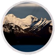 Rocky Mountains In Winter Round Beach Towel