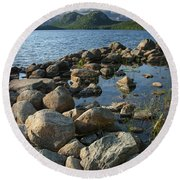 Rocky Shoreline In Acadia National Park Round Beach Towel
