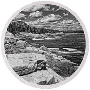 Rocky Summer Seascape Acadia National Park Photograph Round Beach Towel