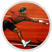 Roger Federer At Roland Garros Round Beach Towel