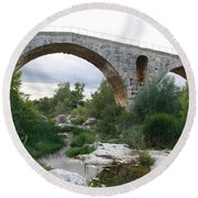 Roman Arch Bridge Pont St. Julien Round Beach Towel