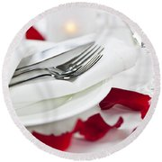 Romantic Dinner Setting With Rose Petals Round Beach Towel