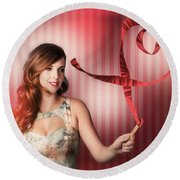 Romantic Woman In A Whirlwind Love Romance Round Beach Towel