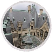 Roof Of Biltmore Estate Round Beach Towel