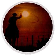 Ropin' The Moon Round Beach Towel