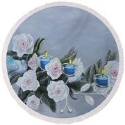 Roses And Candlelight Round Beach Towel