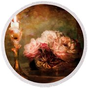 Roses By Candlelight Round Beach Towel