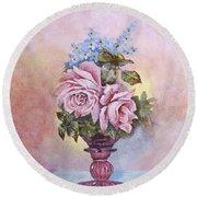 Roses In Ruby Vase Round Beach Towel