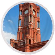 Rotes Rathaus The Town Hall Of Berlin Germany Round Beach Towel