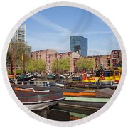 Rotterdam Cityscape In Netherlands Round Beach Towel