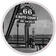 Route 66 - Chain Of Rocks Bridge And Gas Pump Round Beach Towel