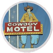 Route 66 - Cowboy Motel Round Beach Towel