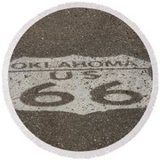 Route 66 - Oklahoma Shield Round Beach Towel