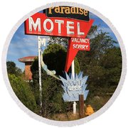 Route 66 - Paradise Motel Round Beach Towel