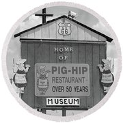 Route 66 - Pig-hip Restaurant Round Beach Towel by Frank Romeo