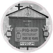 Route 66 - Pig-hip Restaurant Round Beach Towel