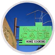 Route 66 - Uranium Cafe Round Beach Towel