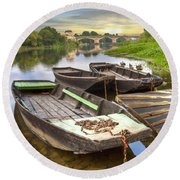 Rowboats On The French Canals Round Beach Towel by Debra and Dave Vanderlaan