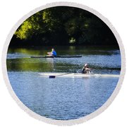 Rowing In Philadelphia Round Beach Towel by Bill Cannon