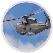 Royal Navy Eh-101 Merlin In Flight Round Beach Towel