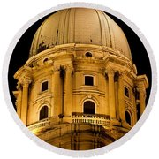 Royal Palace Dome In Budapest Round Beach Towel