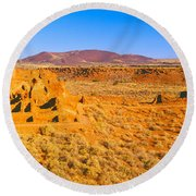 Ruins Of 900 Year Old Hopi Village Round Beach Towel